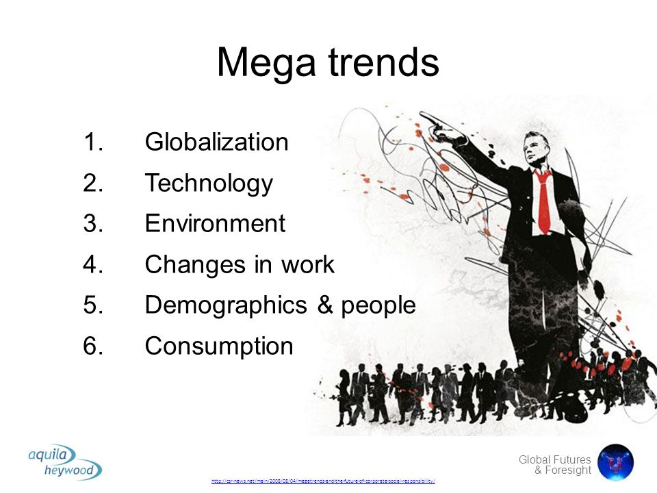 Mega trends Globalization Technology Environment Changes in work