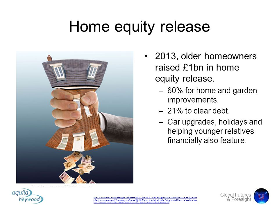 Home equity release 2013, older homeowners raised £1bn in home equity release. 60% for home and garden improvements.