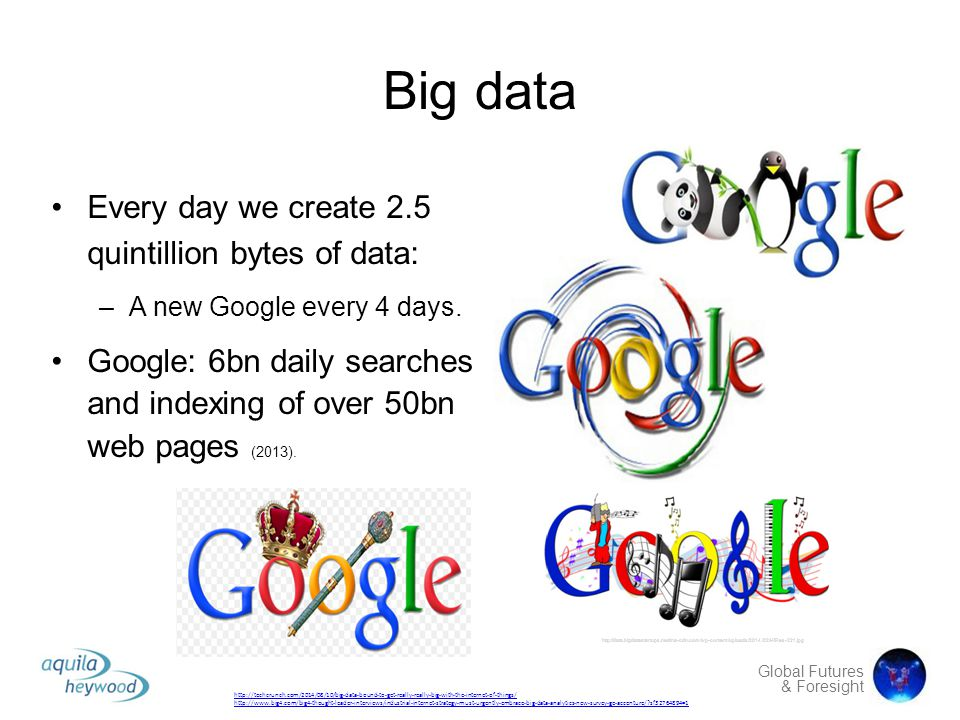 Big data Every day we create 2.5 quintillion bytes of data: