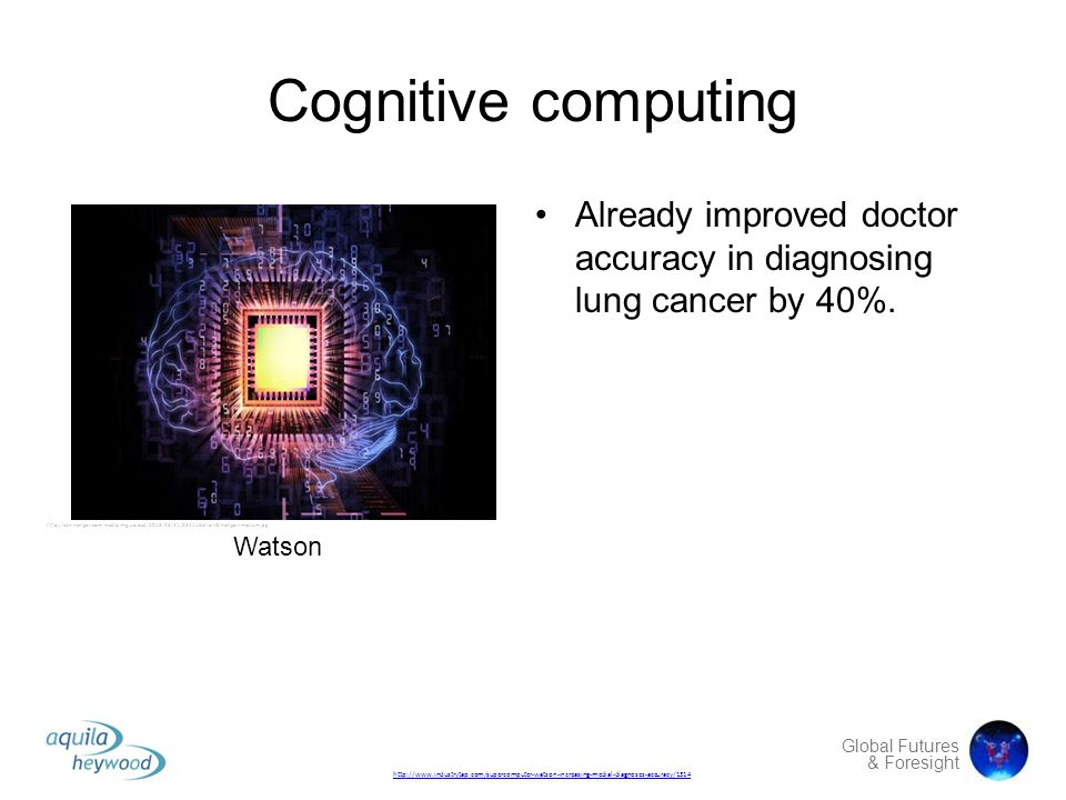 Cognitive computing Already improved doctor accuracy in diagnosing lung cancer by 40%.