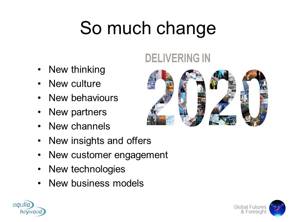 So much change New thinking New culture New behaviours New partners