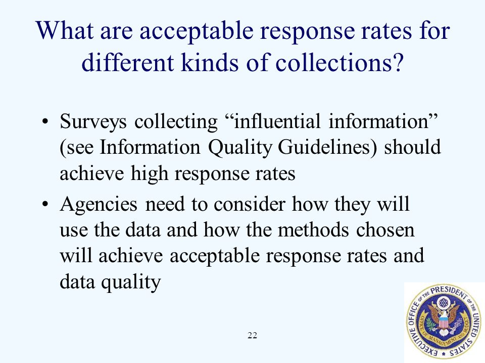 What are acceptable response rates for different kinds of collections