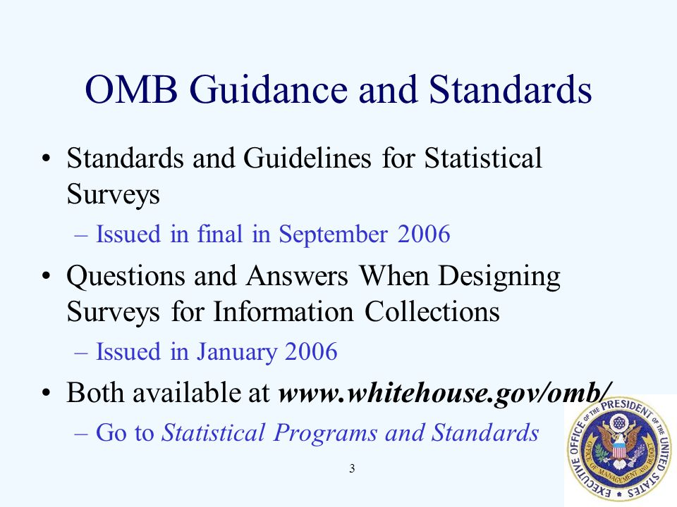 OMB Guidance and Standards