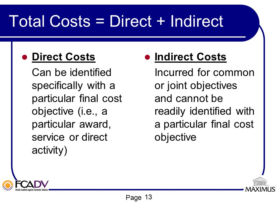 Total Costs = Direct + Indirect