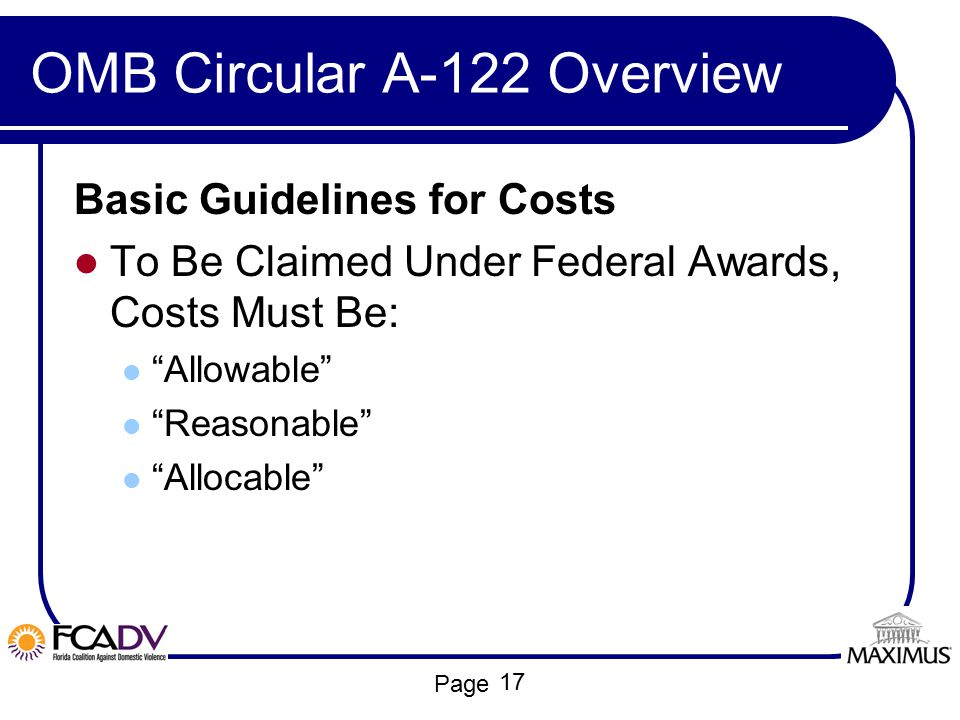 OMB Circular A-122 Overview