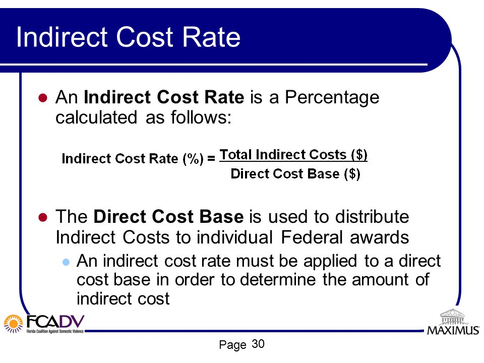 Indirect Cost Rate An Indirect Cost Rate is a Percentage calculated as follows: