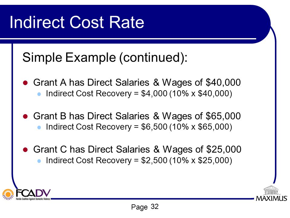 Indirect Cost Rate Simple Example (continued):