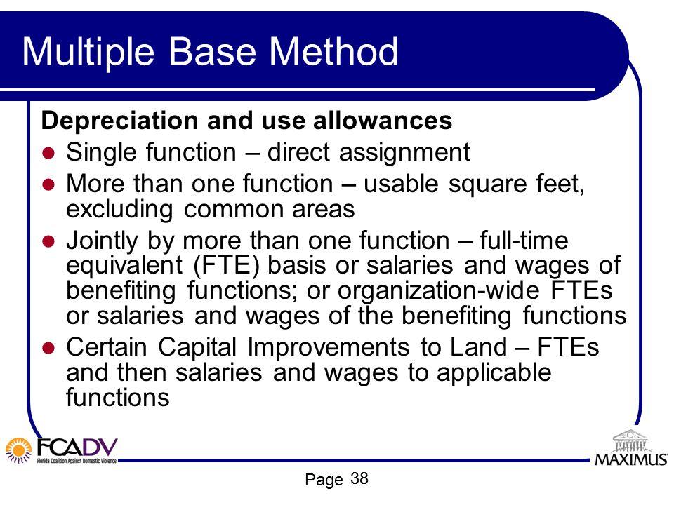 Multiple Base Method Depreciation and use allowances