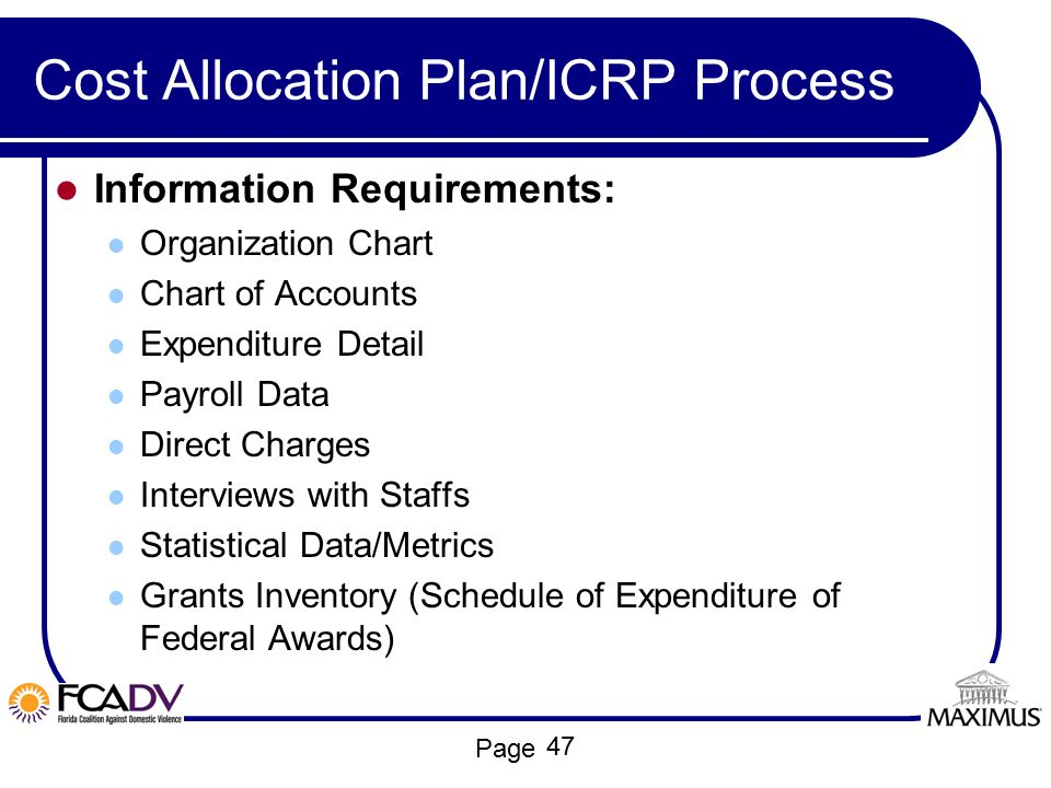 Cost Allocation Plan/ICRP Process