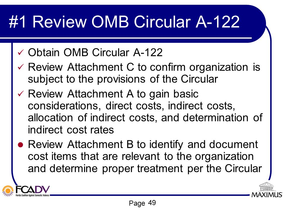 #1 Review OMB Circular A-122
