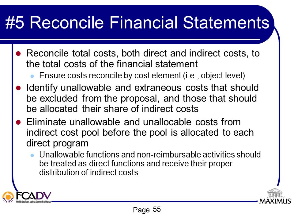 #5 Reconcile Financial Statements