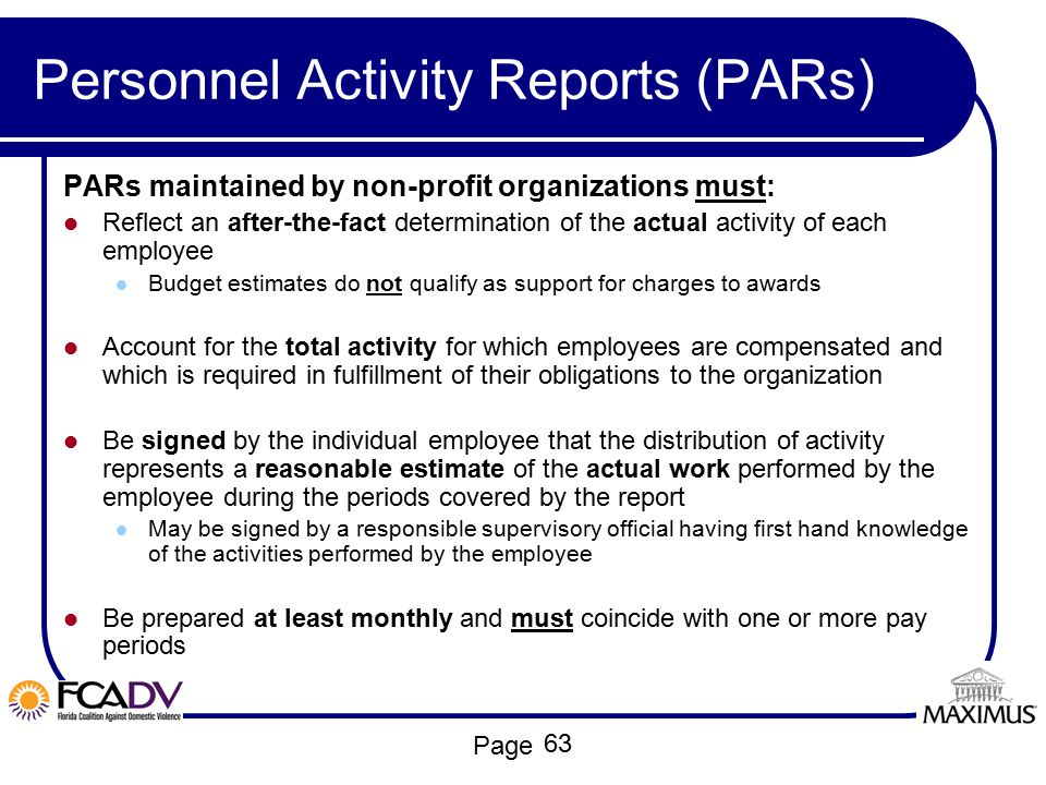 Personnel Activity Reports (PARs)