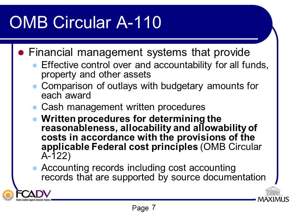 OMB Circular A-110 Financial management systems that provide