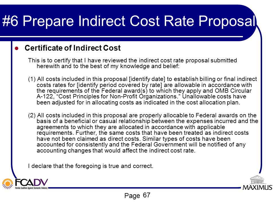 #6 Prepare Indirect Cost Rate Proposal