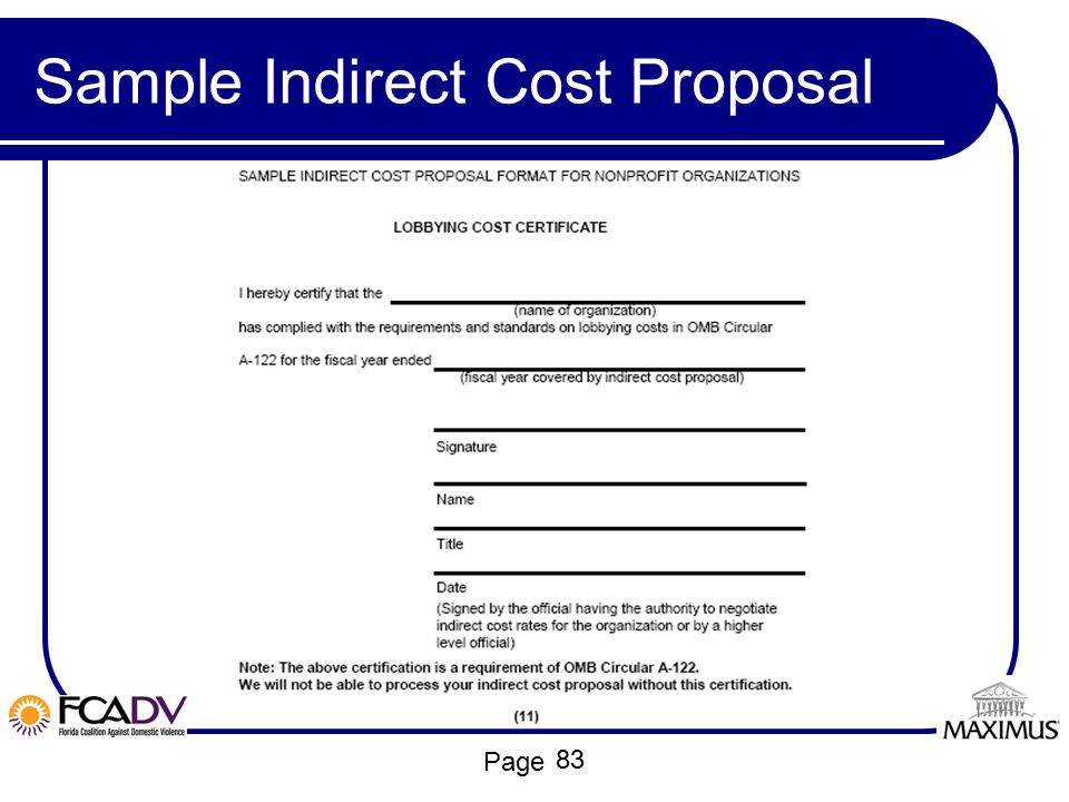 Sample Indirect Cost Proposal