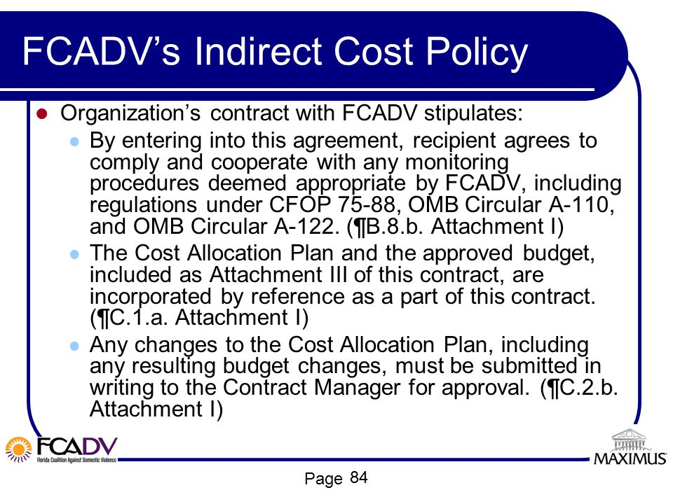 FCADV's Indirect Cost Policy
