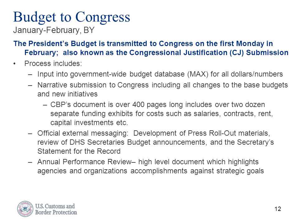 Budget to Congress January-February, BY