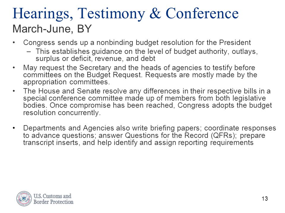 Hearings, Testimony & Conference March-June, BY