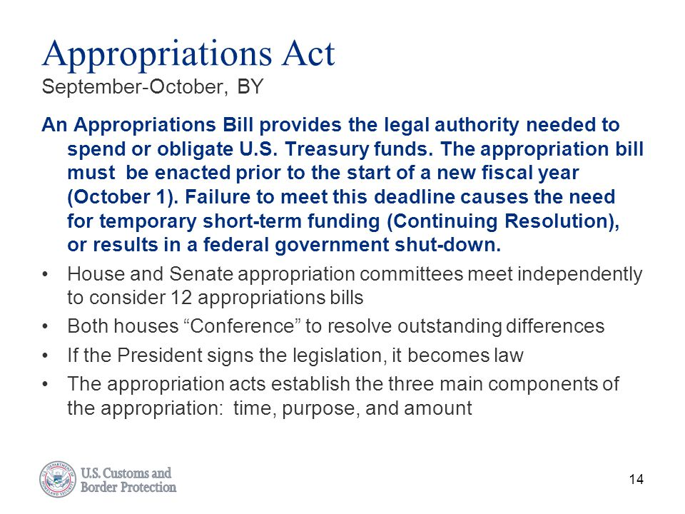 Appropriations Act September-October, BY