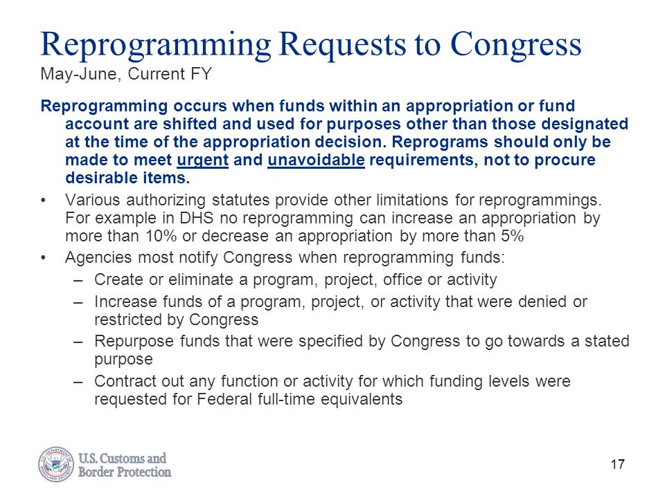 Reprogramming Requests to Congress May-June, Current FY
