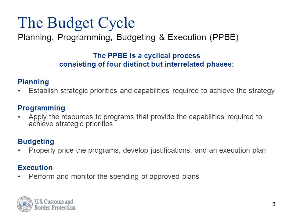 The Budget Cycle Planning, Programming, Budgeting & Execution (PPBE)