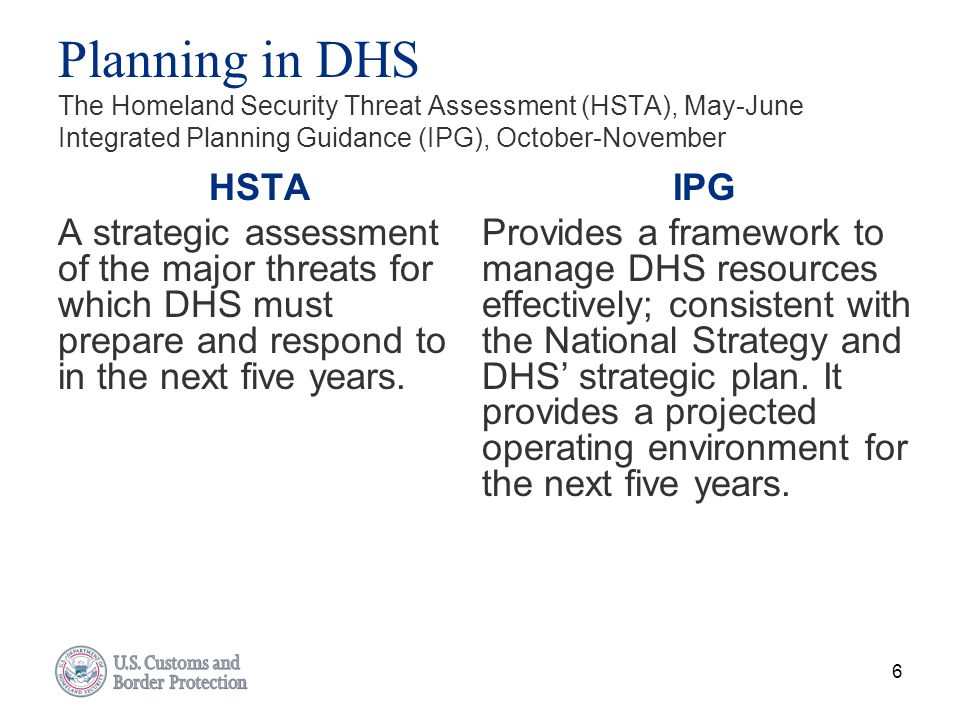 Planning in DHS The Homeland Security Threat Assessment (HSTA), May-June Integrated Planning Guidance (IPG), October-November