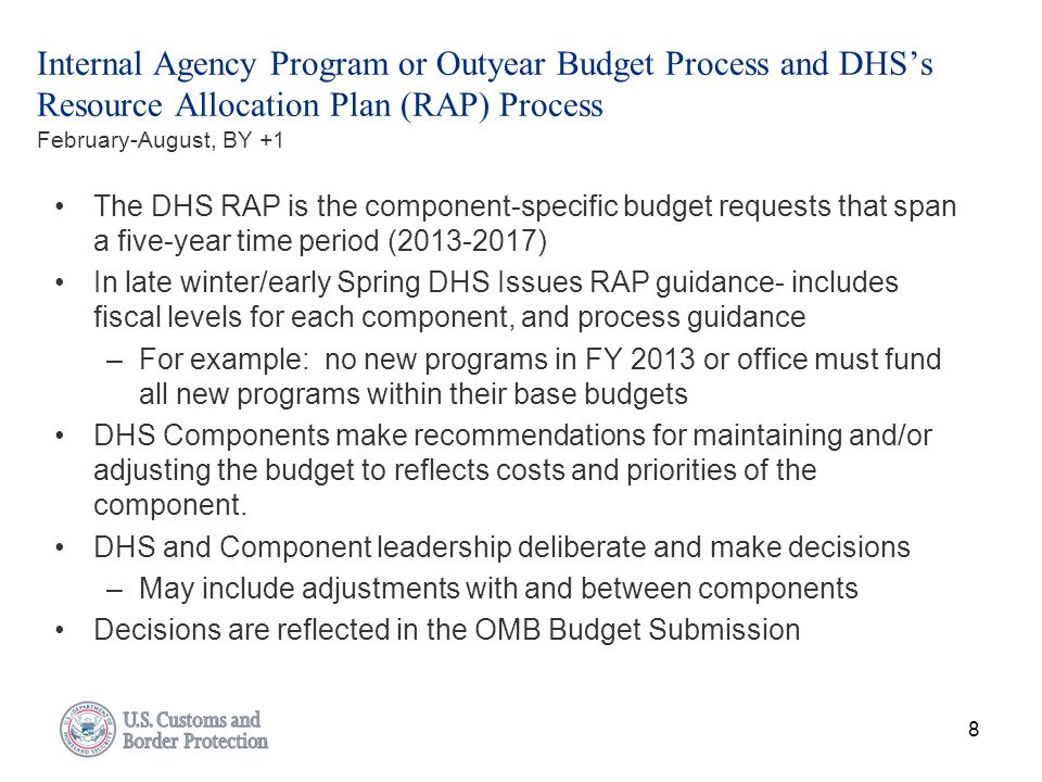 Internal Agency Program or Outyear Budget Process and DHS's Resource Allocation Plan (RAP) Process February-August, BY +1