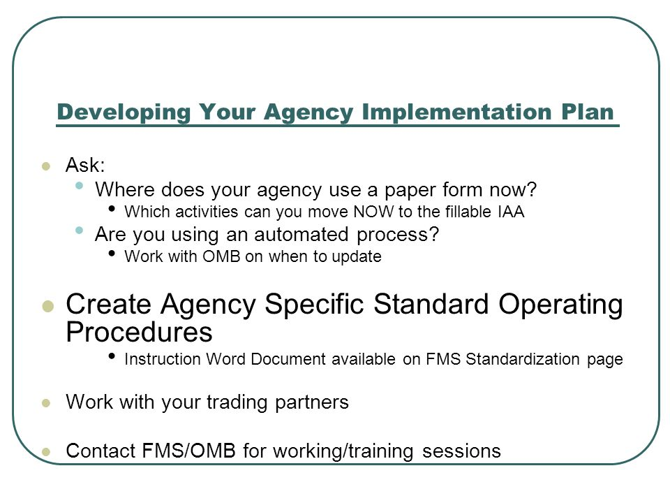 Developing Your Agency Implementation Plan