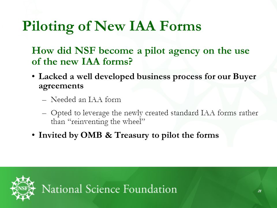 Piloting of New IAA Forms