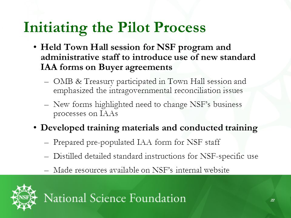 Initiating the Pilot Process
