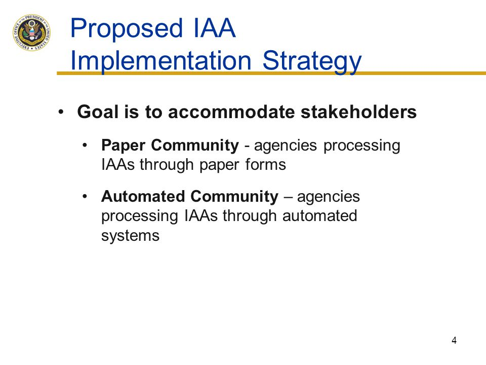 Proposed IAA Implementation Strategy
