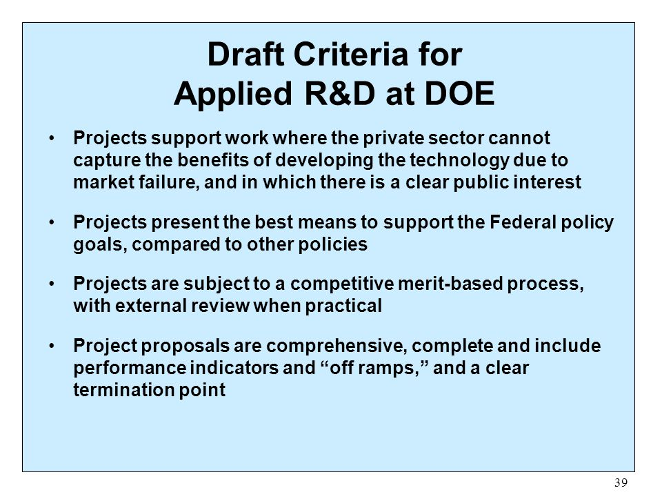 Draft Criteria for Applied R&D at DOE