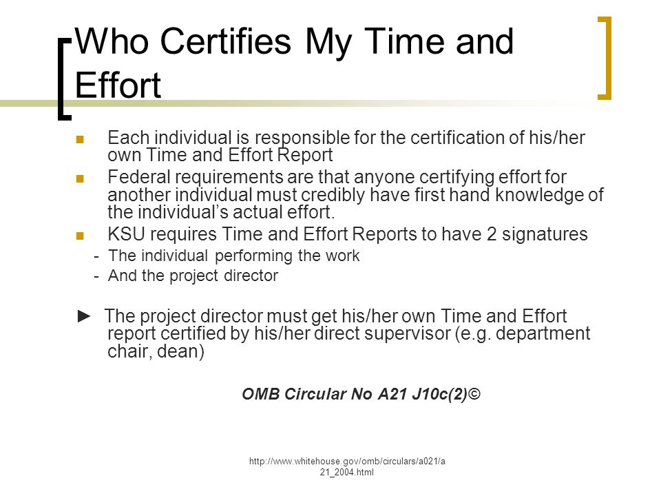 Who Certifies My Time and Effort