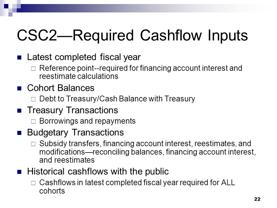 CSC2—Required Cashflow Inputs