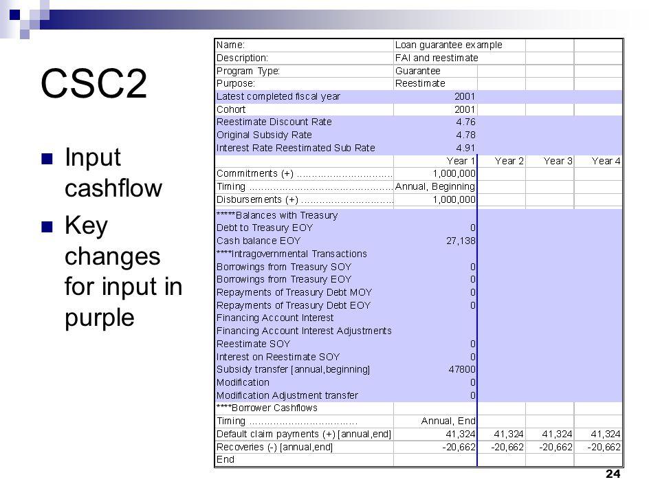 CSC2 Input cashflow Key changes for input in purple