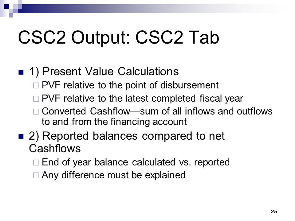 CSC2 Output: CSC2 Tab 1) Present Value Calculations