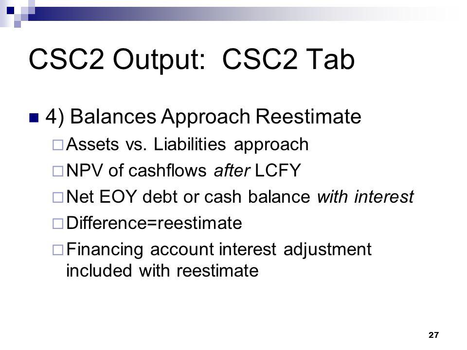 CSC2 Output: CSC2 Tab 4) Balances Approach Reestimate