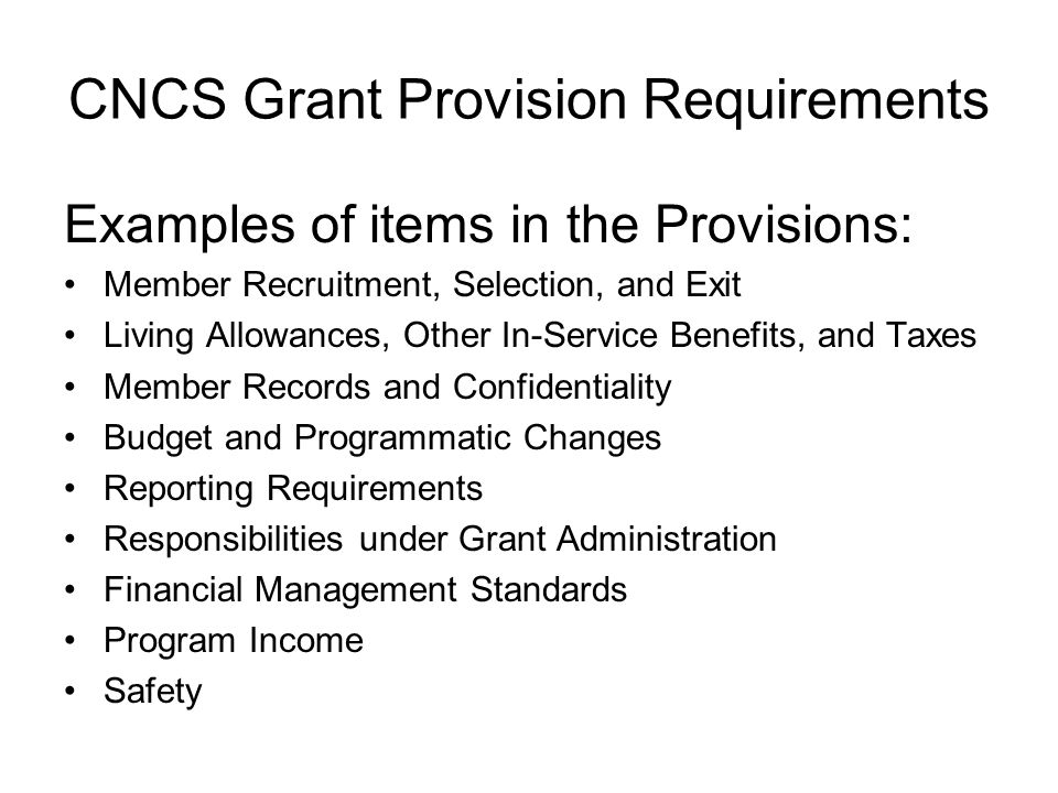 CNCS Grant Provision Requirements