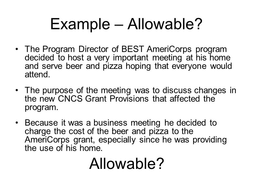 Example – Allowable Allowable