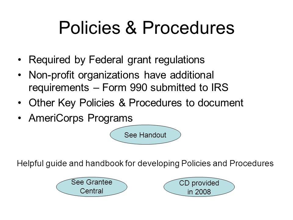 Helpful guide and handbook for developing Policies and Procedures