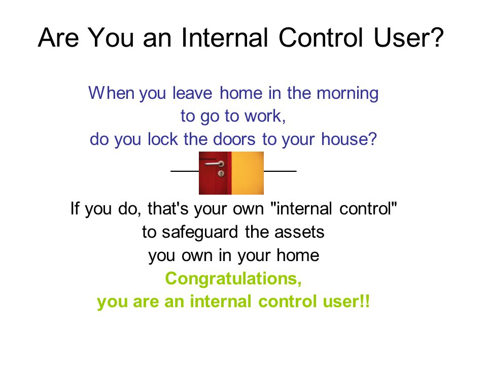 Are You an Internal Control User