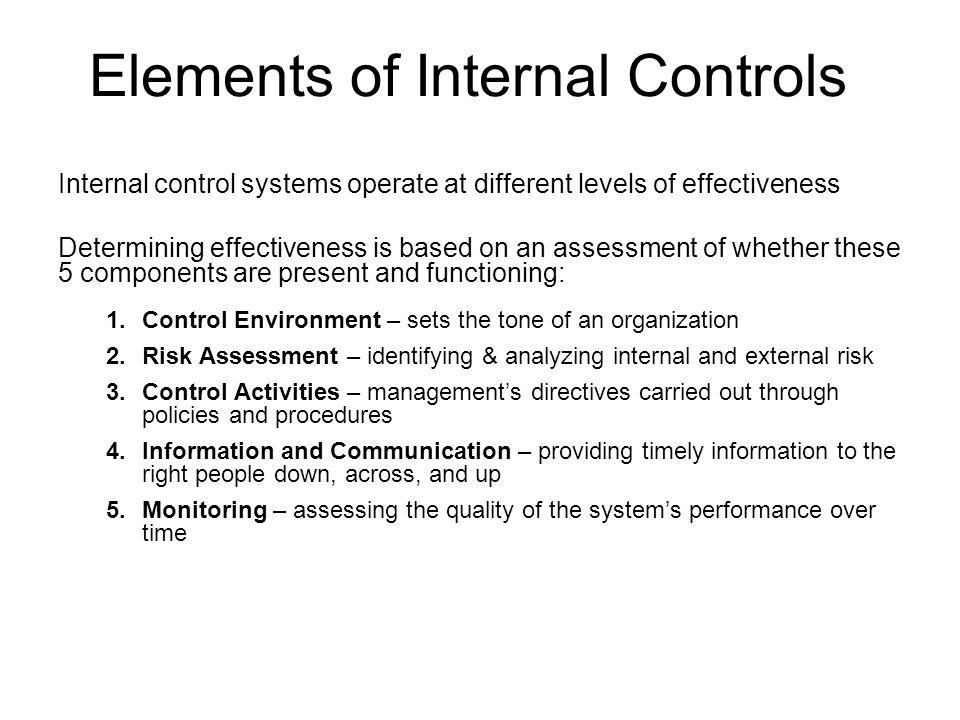 Elements of Internal Controls