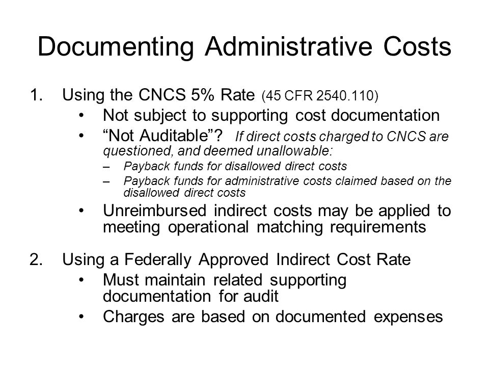 Documenting Administrative Costs