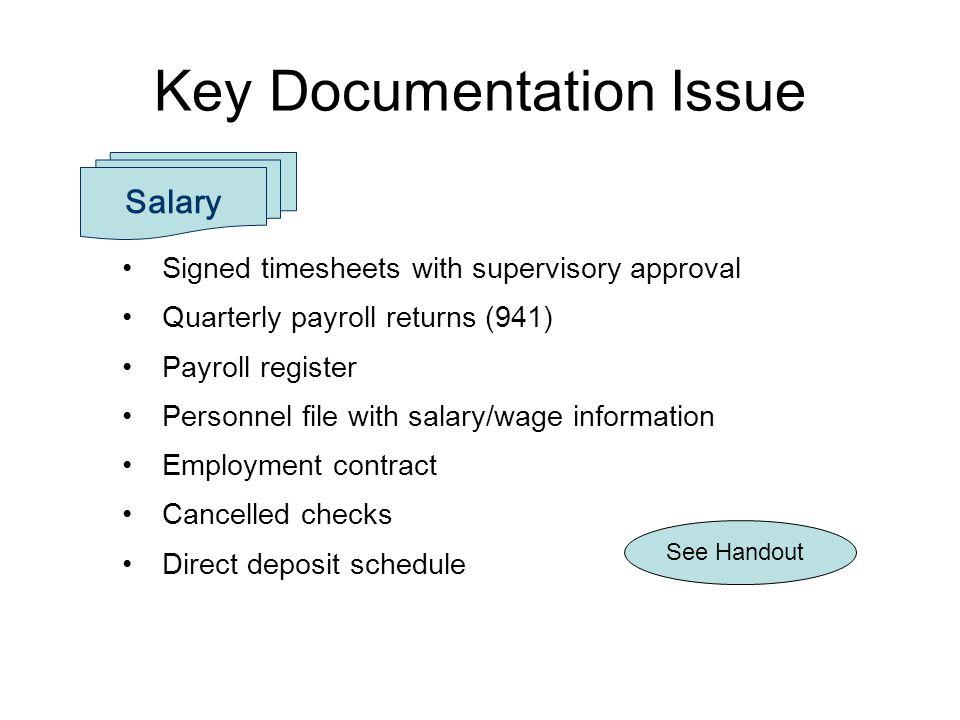 Key Documentation Issue