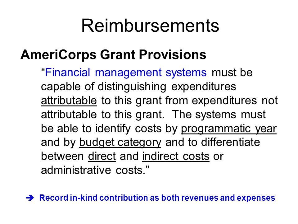 Reimbursements AmeriCorps Grant Provisions