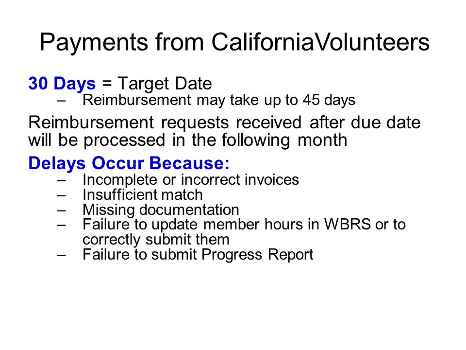 Payments from CaliforniaVolunteers
