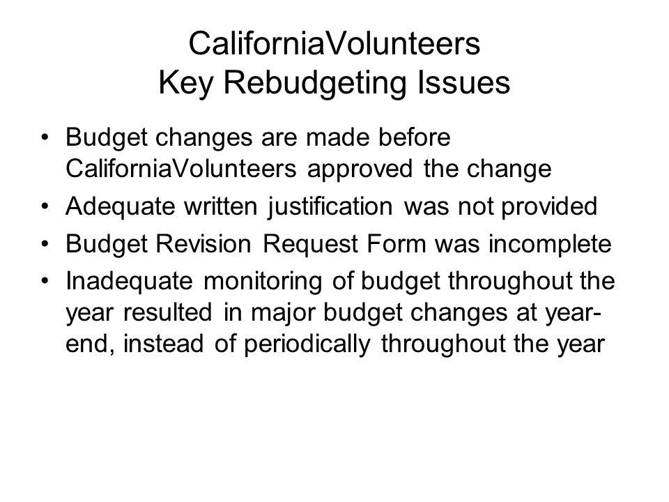 CaliforniaVolunteers Key Rebudgeting Issues