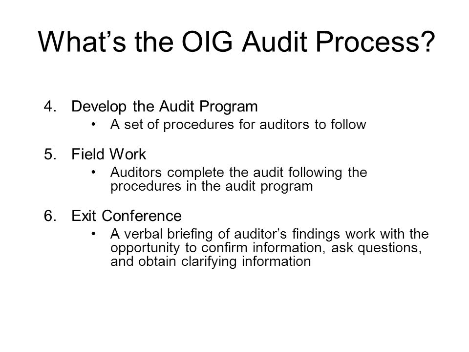 What's the OIG Audit Process