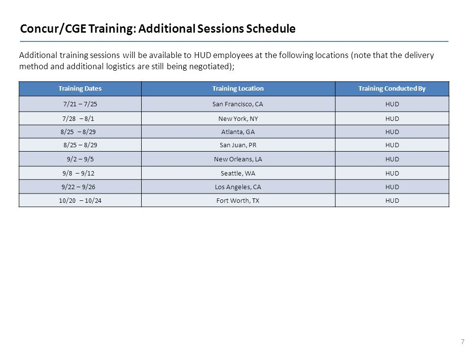 Concur/CGE Training: Additional Sessions Schedule