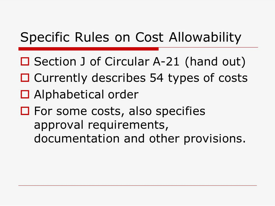 Specific Rules on Cost Allowability